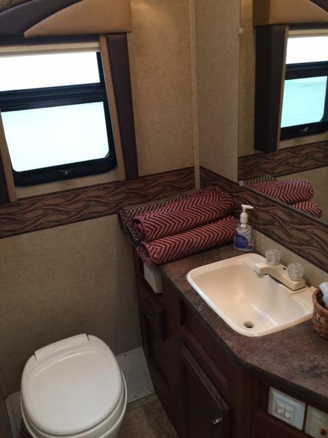 2014 Jayco Redhawk 29XK, 32 Ft. Class C Motorhome RV Rental Bathroom